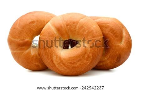 plain bagels - stock photo