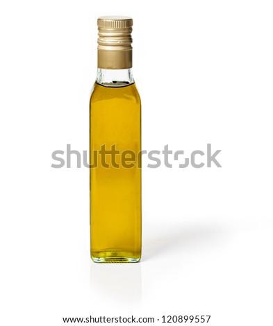 Plain bottle of olive oil on white background - stock photo