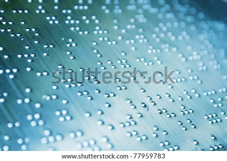 Plain Braille Page Macro , foucs on the centre - stock photo