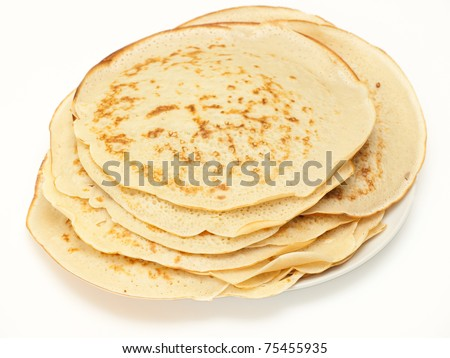 Plain homemade pancakes - stock photo