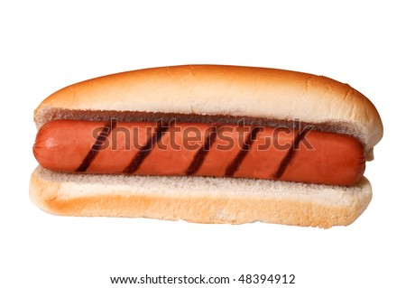 Plain hot dog with grill marks isolated on white background with clipping path. - stock photo