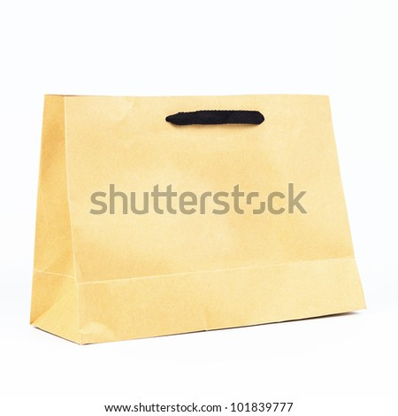 plain paper bag, brown plain paper bag. - stock photo