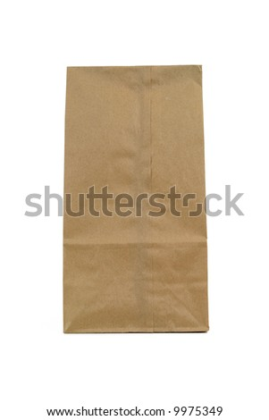 plain small brown paper bag - stock photo