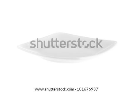 Plain white dinner plates isolated on white background - stock photo