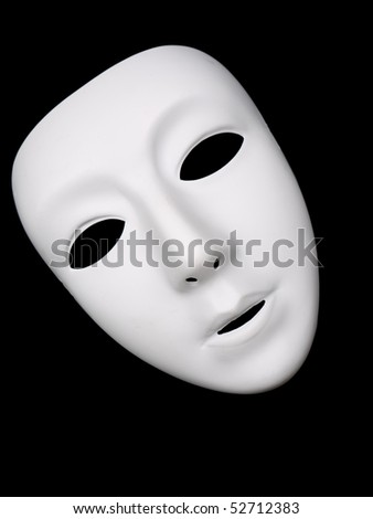 Plain white mask for drama - stock photo