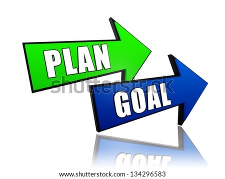 plan and goal - text in 3d color arrows, business concept - stock photo