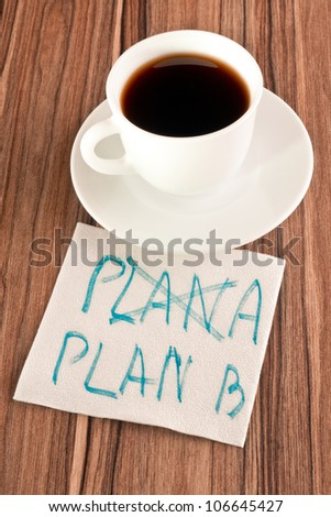 Plan B on a napkin and cup of coffee - stock photo