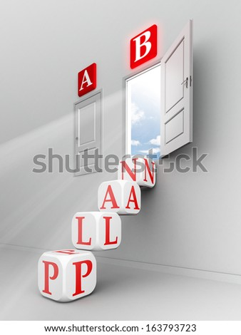 plan b steps up to open door out of room - stock photo