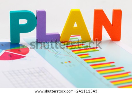 Plan concept with graph document - stock photo