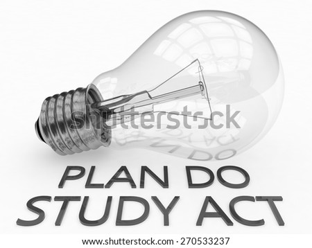 Plan Do Study Act - lightbulb on white background with text under it. 3d render illustration. - stock photo