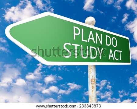Plan Do Study Act - street sign illustration in front of blue sky with clouds. - stock photo