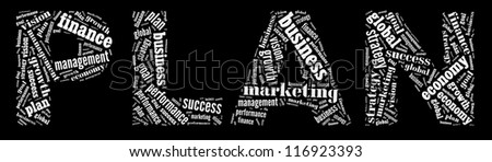 Plan in word collage - stock photo