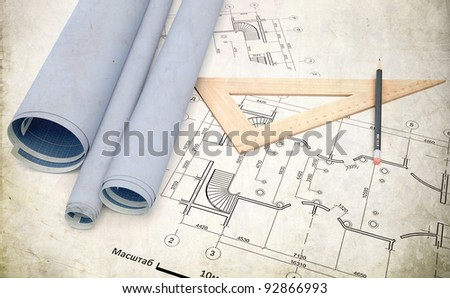 Plan of construction over grunge background - stock photo