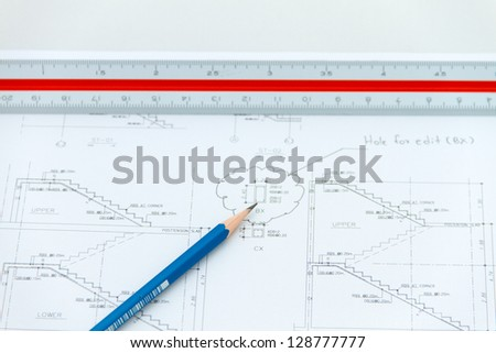 Plan of structure drawing stair - stock photo
