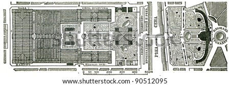 plan of the Paris Exhibition, 1890 - antique engraving - an illustration of the encyclopedia publishers Education, St. Petersburg, Russian Empire, 1896 - stock photo