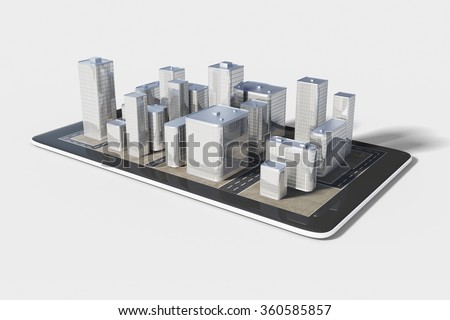 Plan of the urban area in the cell phone - stock photo
