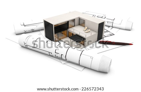plan project concept: concrete house over plots isolated on white background - stock photo