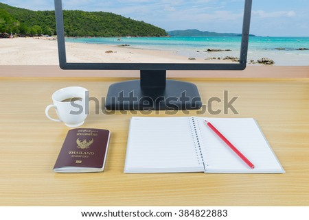 Plan to travel in Thailand at white sand beach and sea green - stock photo