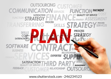 PLAN word cloud, business concept - stock photo
