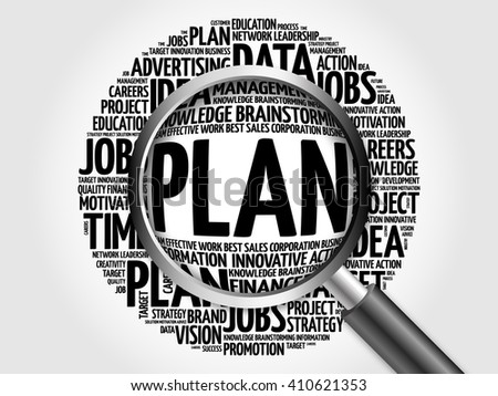 PLAN word cloud with magnifying glass, business concept - stock photo