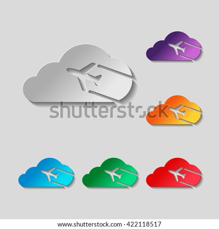 Plane and cloud. Simple icon. Logo set. paper design with colored objects - stock photo