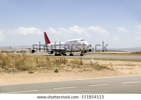 plane boeing 747 in runway an airport - stock photo