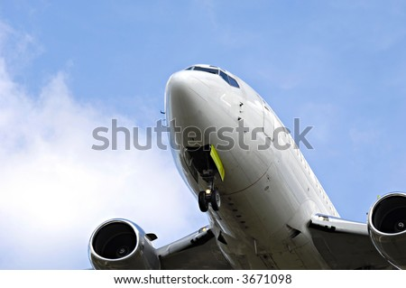 Plane close up with only nose and engines. - stock photo