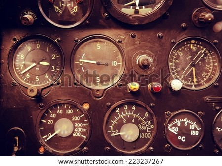 Plane cockpit closeup - stock photo