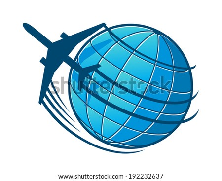 Plane flies around the earth. Concept of travel or transportation industry logo design. Vector version also available in gallery - stock photo