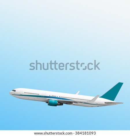 plane flies on the sky and the sun backgrounds - stock photo