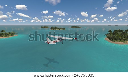 plane flies over paradise tropical islands - stock photo