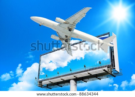 Plane Flying In the Sky - stock photo