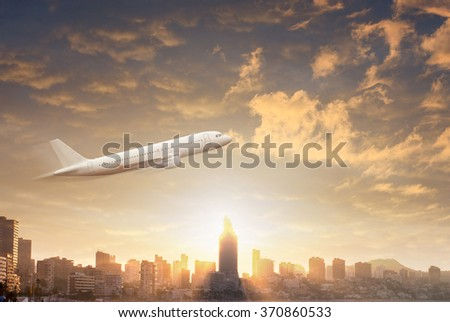 Plane flying in the sky through dramatic storm clouds against silhouettes of the modern city - stock photo