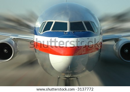 Plane in motion - stock photo