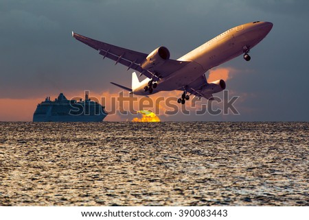 Plane in the sunset light. Aircraft flying over the sea and cruise ship. - stock photo