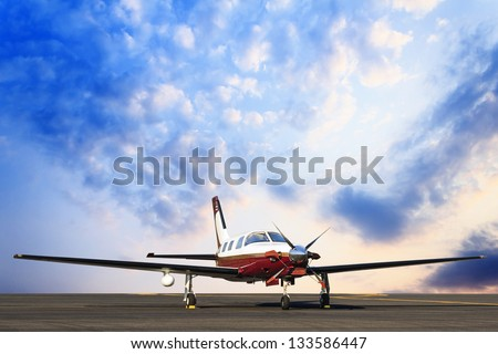 plane landing and sky background. - stock photo