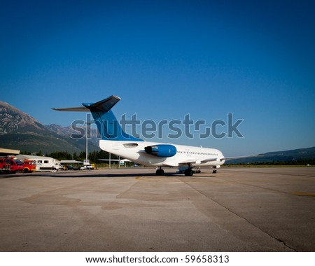 Plane on the runway - stock photo