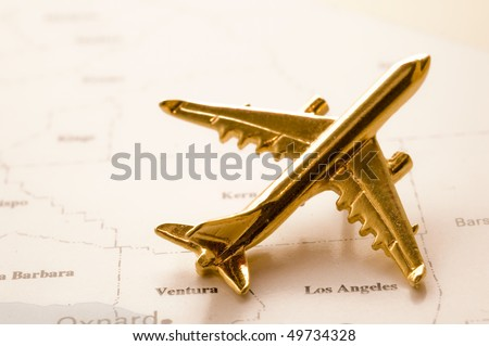 Plane Over California Map, Map is Copyright Free Off a Government Website. - stock photo