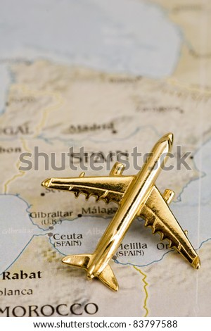 Plane Over North Carolina, Map is Copyright Free Off a Government Website - Nationalatlas.gov - stock photo