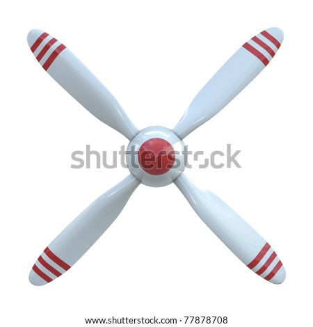 Plane propeller with 4 blade isolated on white background - stock photo