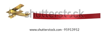 Plane pull a red banner, isolated on white - stock photo