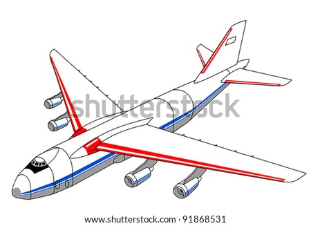 plane silhouette on white background - stock photo