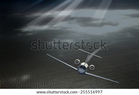Plane taking off in the sky over the sea - stock photo