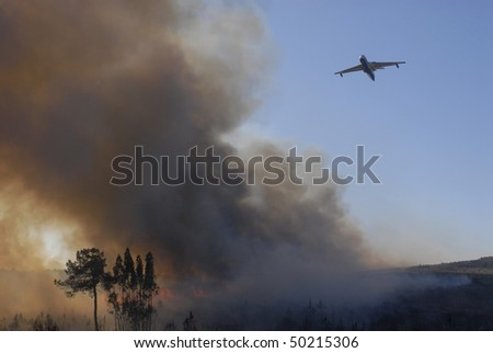 Plane to fight a fire - stock photo