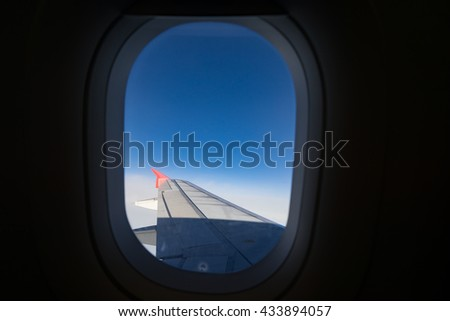 plane windows - stock photo