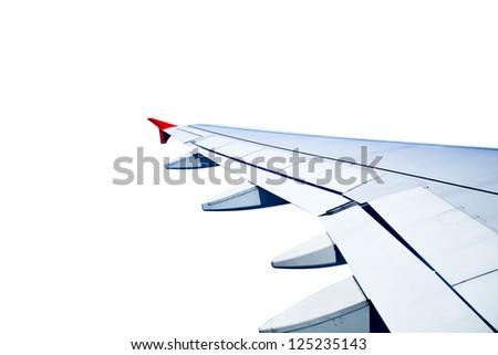 plane wing isolated on white background - stock photo