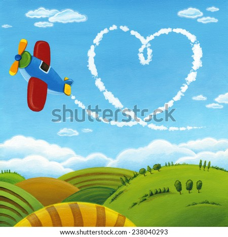 Plane with heart track in the sky. Valentines Day card illustration with Love message. - stock photo