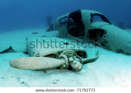 Plane wreck from Jaws 4 - stock photo