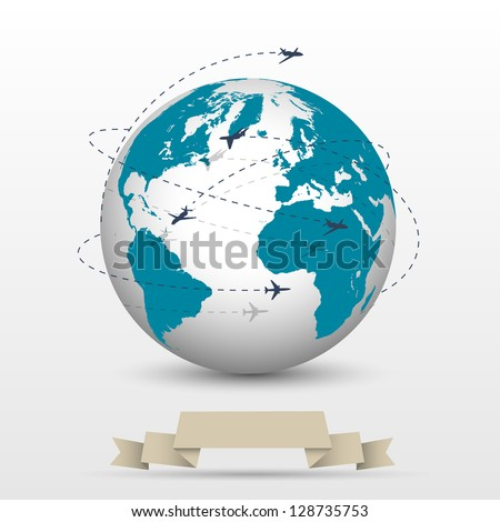 Planes flying around the globe. Raster version - stock photo