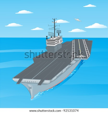 Planes taking off from the deck of an aircraft carrier in the ocean. Vector version also available in portfolio. - stock photo